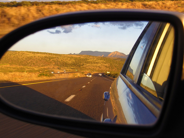 """""""Sedona Area in My Rear View, S.R. 89A Between Sedona and Cottonwood, Arizona"""" © Ken Lund"""