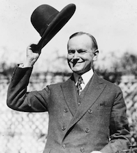 Calvin Coolidge Giving a Tip o' the Hat
