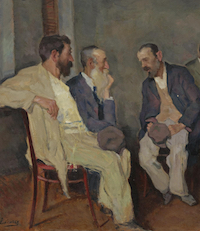 Oil Painting of Men Having a Conversation by Arnold Borisowich Lakhovsky