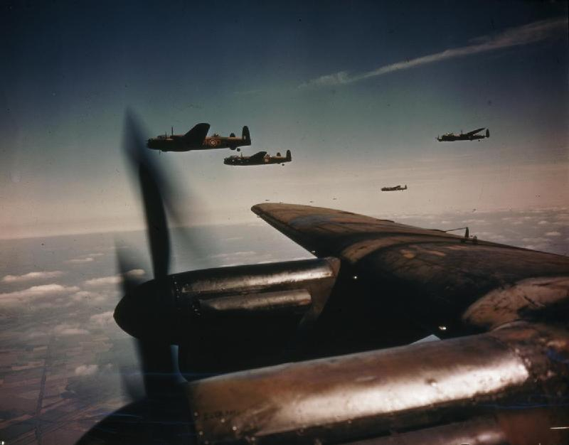 """Avro Lancaster Bombers in Flight, August 26, 1943"" © The collections of the Imperial War Museums; Public Domain"