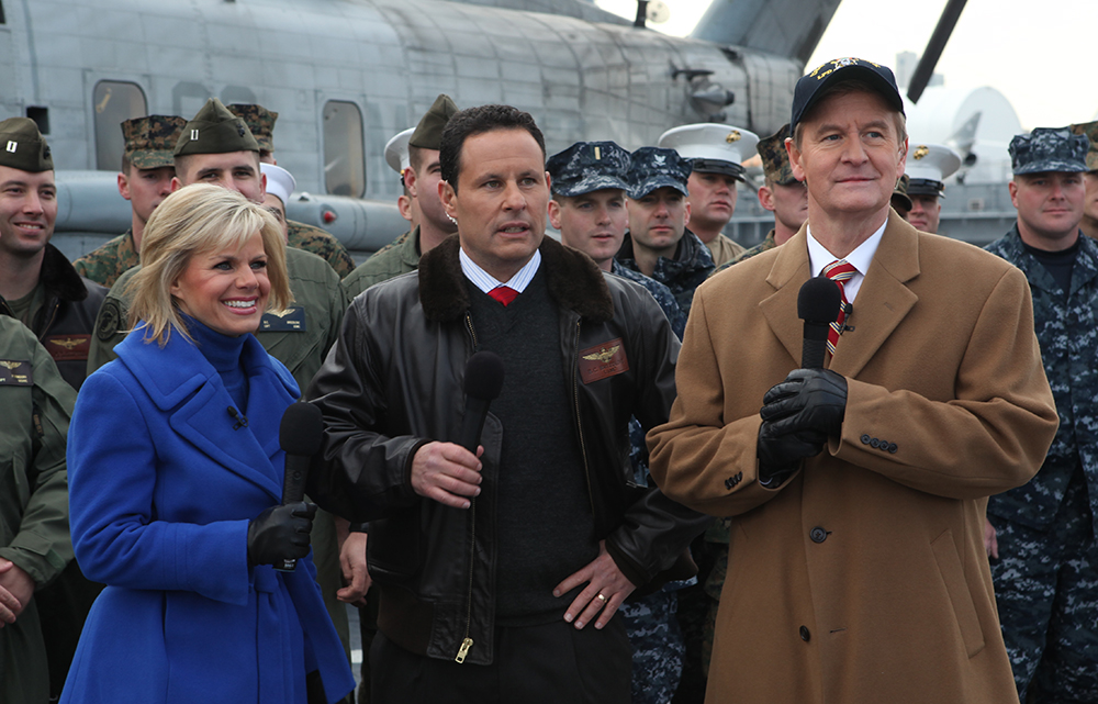 Gretchen Carlson, Bill Kilmeade, and Steve Doocy; United States Marine Corps; public domain