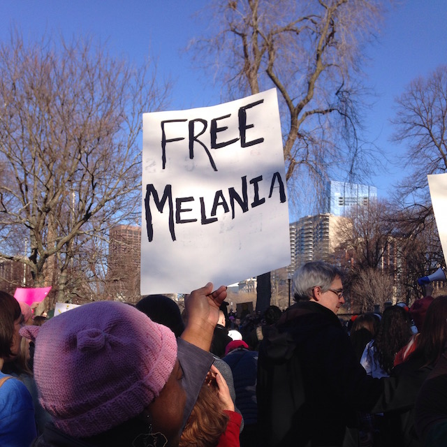 """Free Melania"" (2017 Boston Women's March) © Martha Nichols; used with permission"