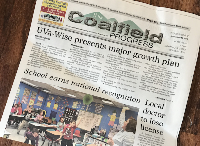 Front Page of the Coalfield Progress (November 14, 2017) © Meghan Moore-Hubbard; used with permission