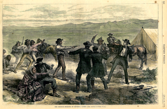 Illustration of the Attack on the Negotiators by William Simpson; Public Domain