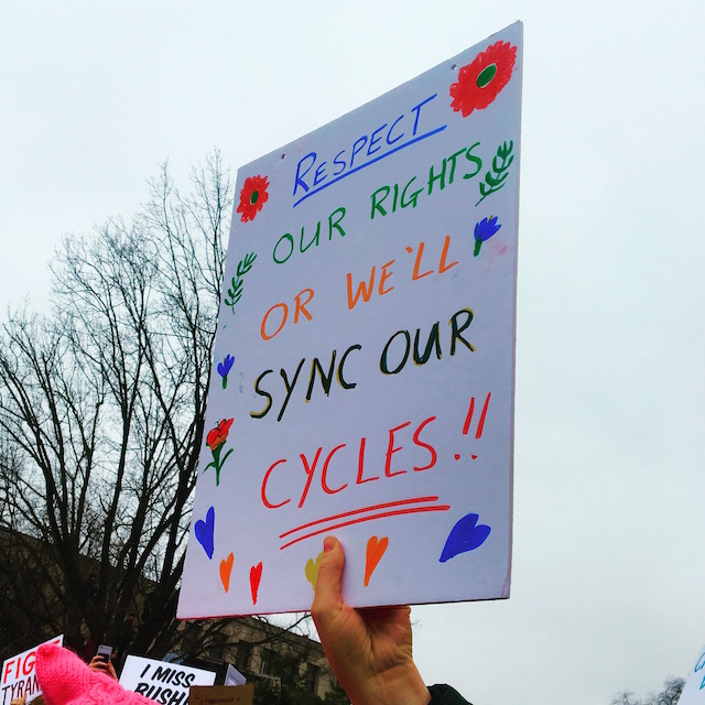 """Sync Our Cycles"" (2017 New York City Women's March) © Leandra Ali-Dolsingh; used with permission"
