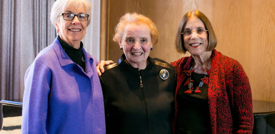 Classmates Wini Freund, Madeleine Albright (middle), and Susan Terris at Wellesley College in January 2016; courtesy Wellesley College