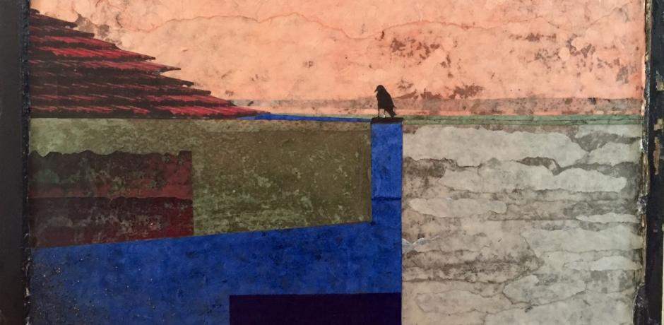 """Landscape with Crow"" (paper and glue on window glass) © Kim Triedman; used by permission"