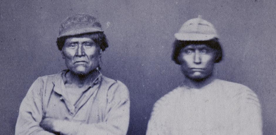 """Schonchin and Jack,"" photographic portraits of Modoc Indians of Modoc War, courtesy of the California Historical Society, PC 006_05"