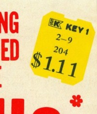 kmart faux sticker key 1 from a 1970's yarn sleeve