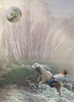 Collage showing a girl riding a lamb into a wave with the moon overhead