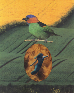 Collage showing a bird sitting on an egg with a woman in it