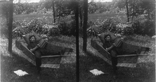 """Young Man Lying in a Hammock""stereoscopic image; Library of Congress"
